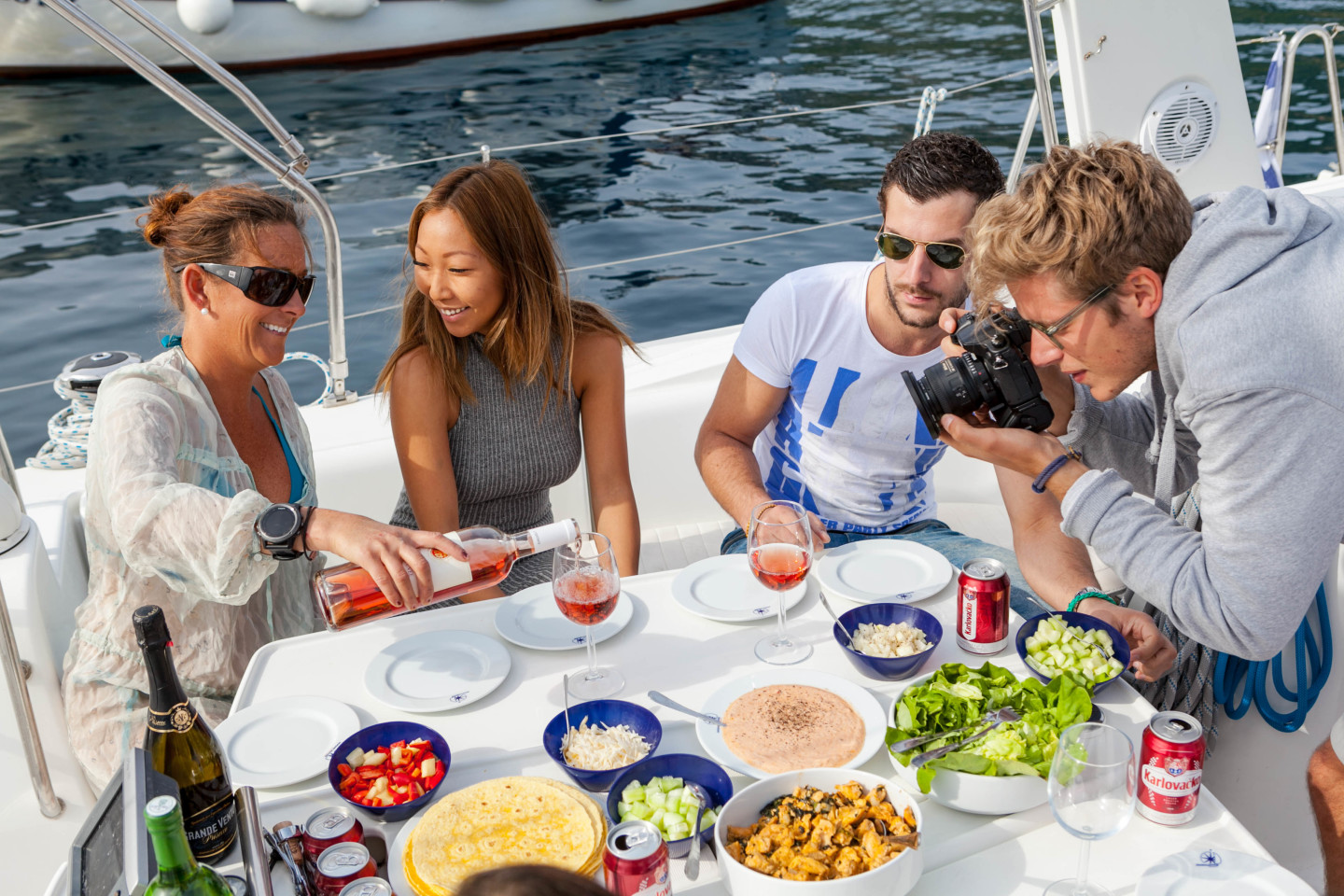 sailing food friends and family package eat onboard rent boat for a day
