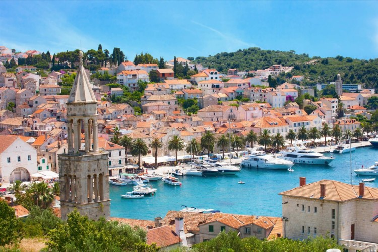 hvar bird view of the port and sunny weather daily boat rental