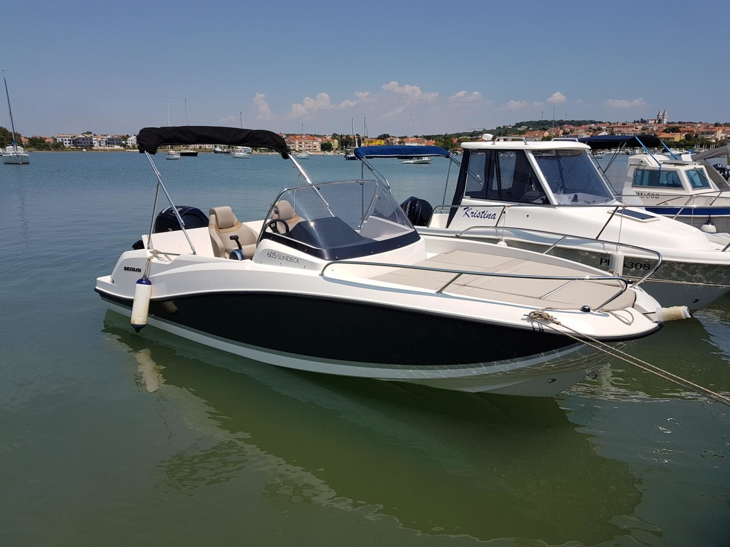 Quicksilver Active 605 1 pomer istria croatia party boat rental island hopping paddle surfing mercury